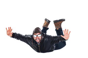 Free falling happy pilot