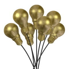 Bouquet of golden light bulbs with golden caps