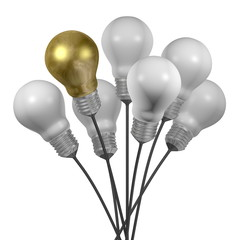 Bouquet of many white light bulbs and a golden one with cap