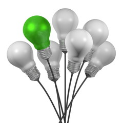 Bouquet of many white light bulbs and a green one