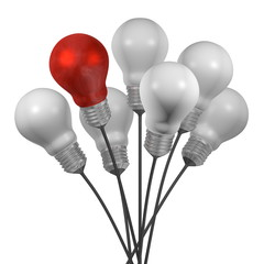 Bouquet of many white light bulbs and a red one