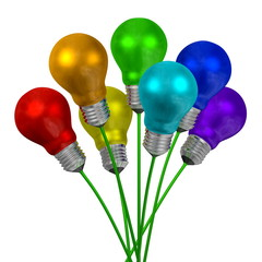 Bouquet of light bulbs of different colors on green wires