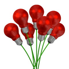 Bouquet of red light bulbs on green wires