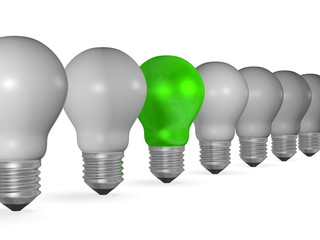 One green light bulb in row of many grey ones isolated on white