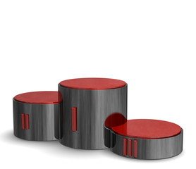 Black reflective cylindrical podium with red Roman numerals