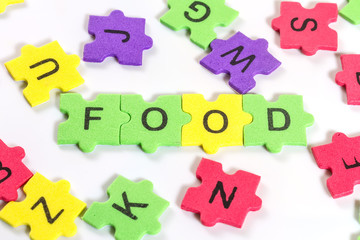 word FOOD formed with colorful foam puzzle  on white background