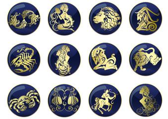 Zodiac Star Signs set . Vector set astrology sign