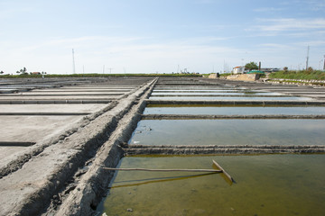 Evaporation ponds of salt farm, Portugal