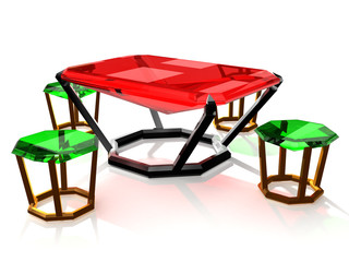 jewelry table and tabourets