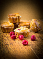Wall Mural - Raspberry muffins on wooden spoon