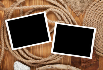 Travel photo frames on  wooden texture