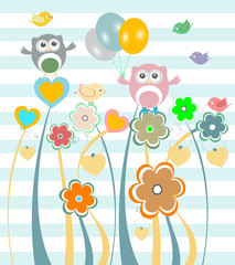 Cute kids background with flowers, owls and birds