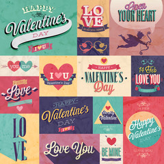Canvas Print - Valentine`s day set - emblems and other decorative elements.
