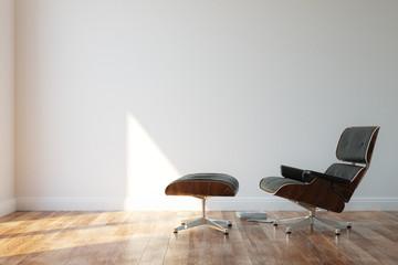 Black Cozy Leather Armchair In Minimalist Style Interior