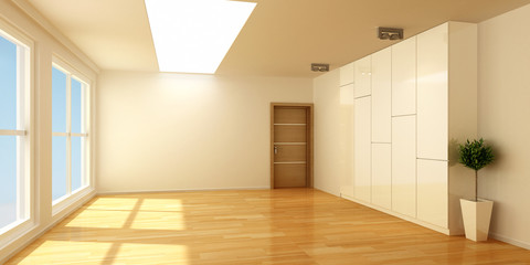 3D empty interior room with wood floor and windows