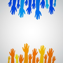 Colorful orange and blue up hands, vector illustration