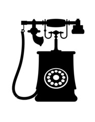 Illustration of a vintage rotary dial telephone