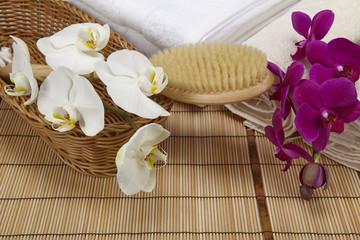 Wellness - Massagebürste, Frottee-Handtücher und Orchidee