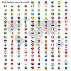 Circle flags of the world and map vector