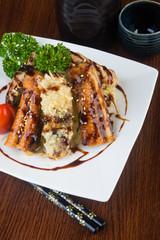 japanese cuisine. unagi or eel on the background