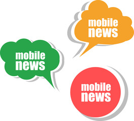 mobile news. Set of stickers, labels, tags. Business