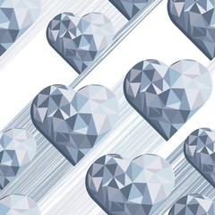 diamentowe serce na białym tle romantyczny deseń