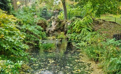 picturesque garden in the village of Villennes sur Seine