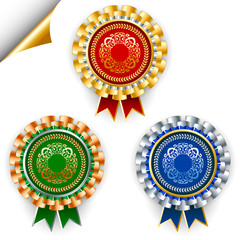 Three color vector award ribbon badges for 1, 2 and 3 places.