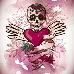Skull, Hearts and Flowers Vector Illustration