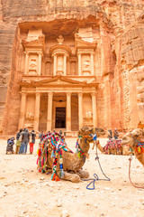 Al Khazneh in the ancient Jordanian city of Petra.