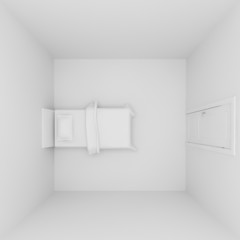 top view of bedroom interior ,3d render