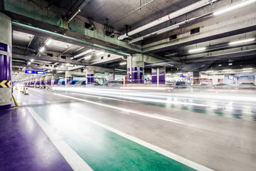Underground parking aisle