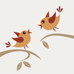 Vector illustration of two quarreling birds.
