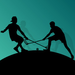 Floor ball players active sport silhouettes vector abstract back