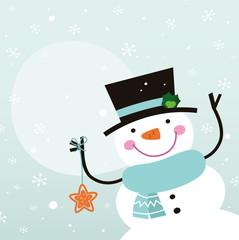 Cute cartoon Snowman with christmas decoration