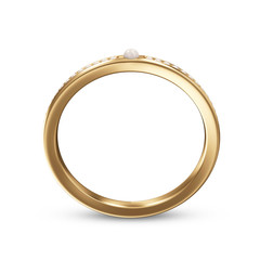 Golden ring with pearls isolated on a white
