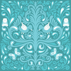 Beautiful floral pattern with owl, bird and butterfly