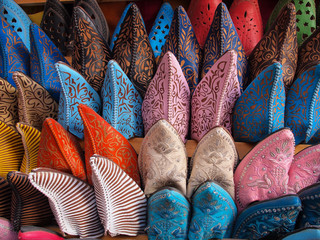 Poster de jardin Maroc Colorful moroccan handmade leather shoes