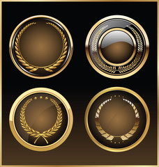 Vector round golden glossy labels