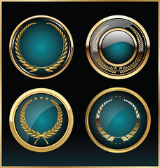 Vector round gold and blue glossy labels