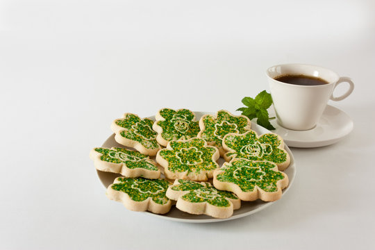 Cookies and coffee for St. Patrick's Day