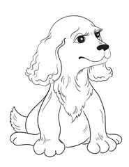 Cartoon puppy drawing on white background
