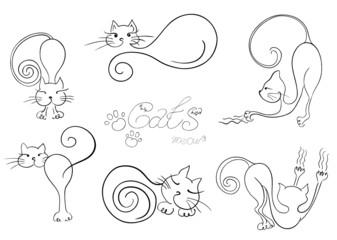 Set vector  sketch. Cats