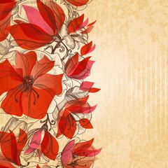 Fototapete - Vintage floral background, cardboard texture