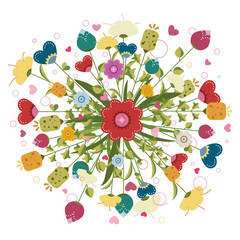 Colorful bouquet  made of illustrated flowers