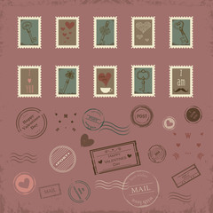 Vector collection of vintage post stamps for St. Valentine day