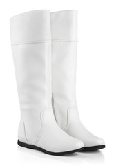 Pair of female boots isolated on white with clipping path