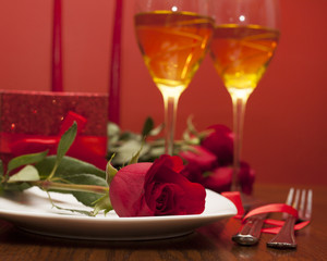 Fototapete - table setting for valentines day with roses