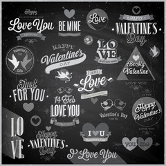 Wall Mural - Valentine`s day set - emblems and other elements - Chalkboard.
