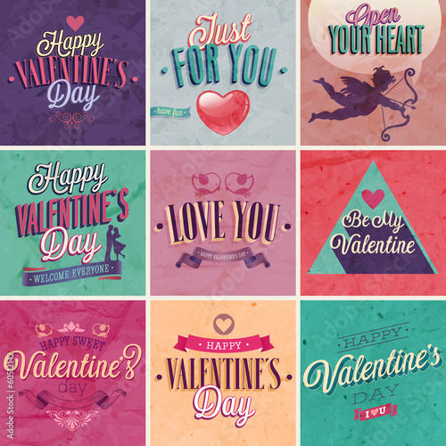 Wall mural Valentine`s day set - emblems and other decorative elements.